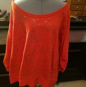 Orange Shimmery Silver Zip Back Scoop Neck Top